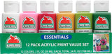 Apple Barrel Essentials 12 Color Paint Set - Finishing - Activity Based Supplies