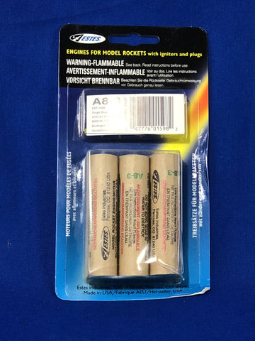 Estes A8-3 Engines (Pack of 3) - Rockets - Activity Based Supplies