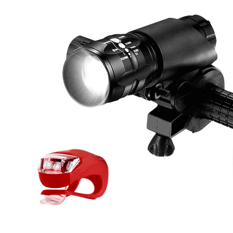 Bike Headlight - Super Bright Bicycle LED Front Head Light With Tail Light Fixtures