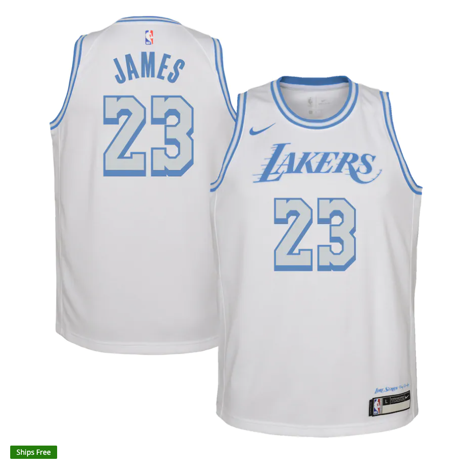Youth Los Angeles Lakers LeBron James Nike White 2020/21 Swingman Jersey - City Edition