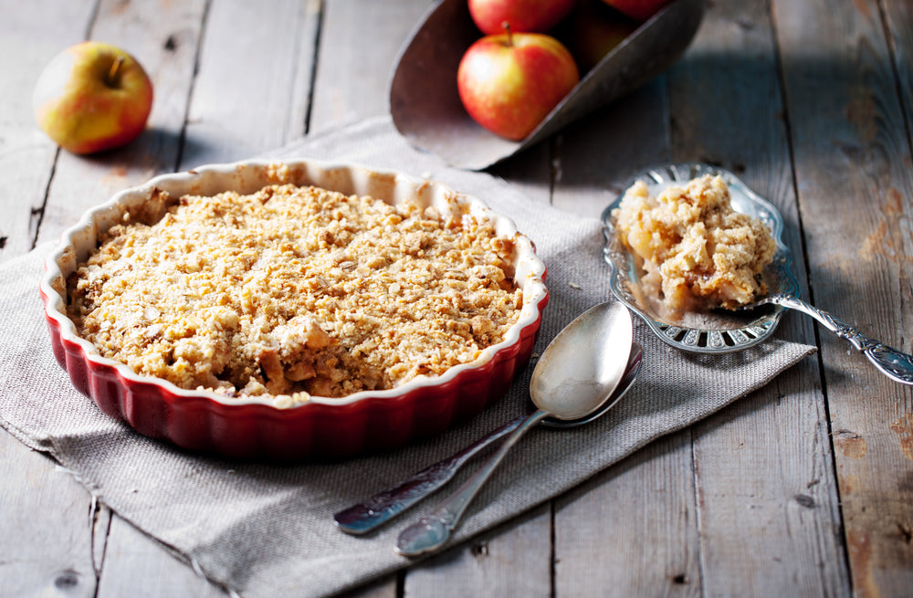 Rhubarb and Apple crumble (Veg)