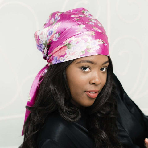 Head Scarf: Abigail | Hot Pink Floral Silky Satin Head Scarf | Linda Christen Designs