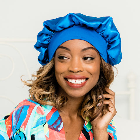 Bonnet: Atasi | Royal Blue Satin Bonnet | Linda Christen Designs