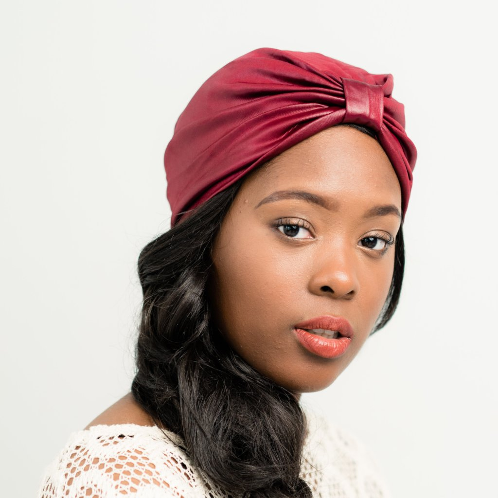 Turban: Augustine | Red Faux Leather Turban | Linda Christen Designs