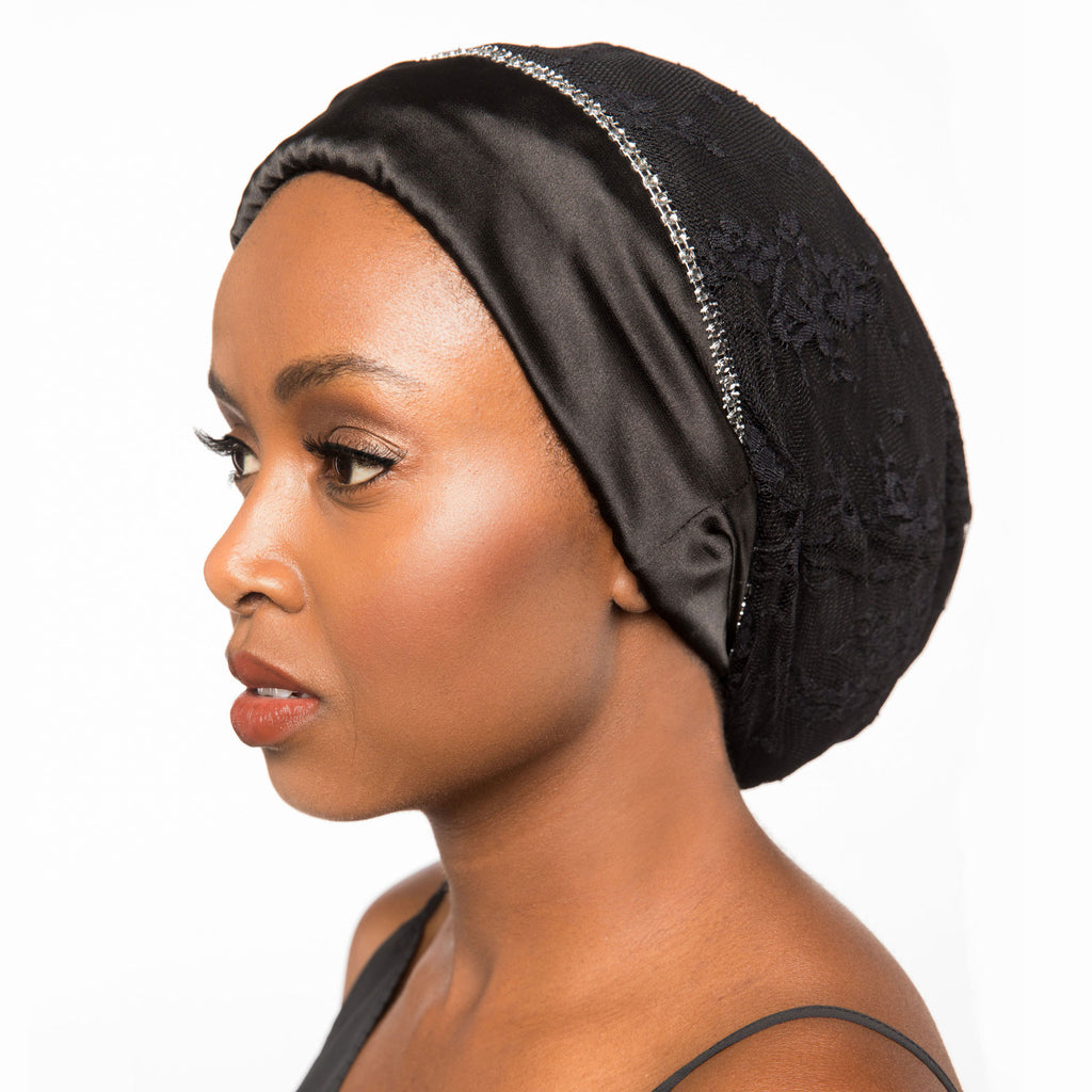 Satin-Lined Bonnet with Black Lace | Alita