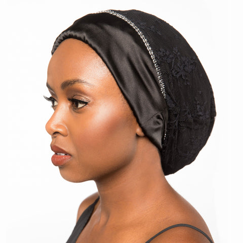 Alita | Black Satin-Lined and Lace Slouch Bonnet