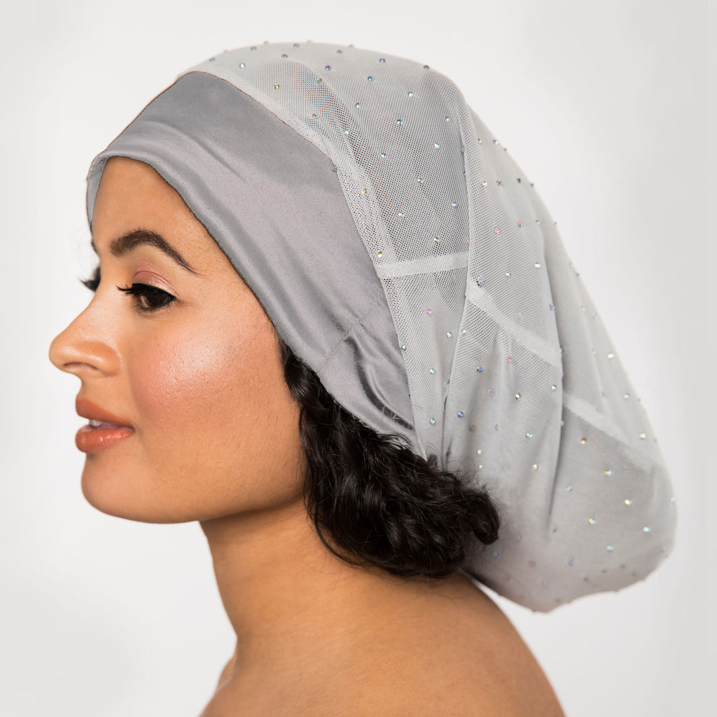 Silver Mesh Satin-Lined Bonnet with a Silver Gray Band | Angel