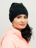 Beanie: Bianca | Black Sequin Charmeuse Satin-Lined Slouch Cap | Linda Christen Designs