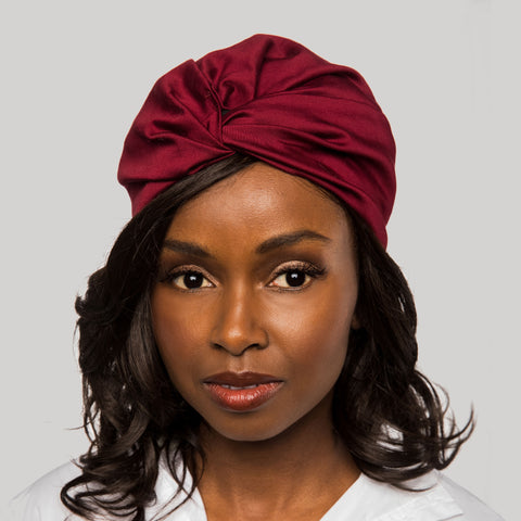 Chic Crimson Satin-Lined Turban | Royale