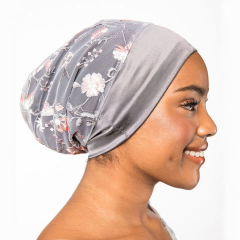Embroidered Floral Mesh Satin-Lined Bonnet with a Silver Gray Band | Noelle