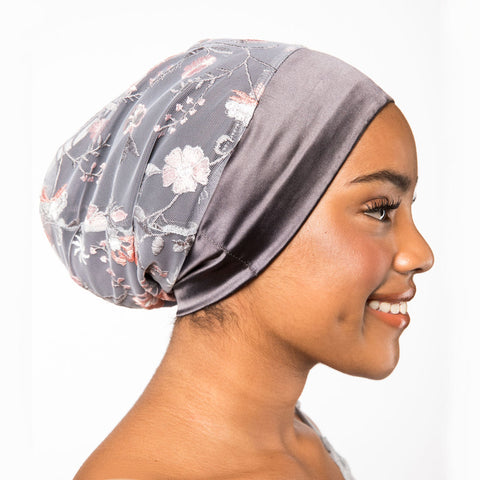 Embroidered Charcoal & Floral Mesh Satin-Lined Bonnet | Noelle