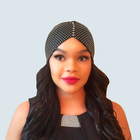 Satin Head Wrap - Anna | Satin-Lined Polka Dot & Sparkle Half Wrap