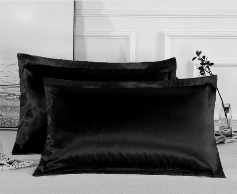 Charmeuse Satin Pillowcases | Black | One Pair