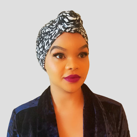 Cap: Josephina | B&W Leopard Pre-tied Rose Knot Charmeuse Satin-Lined Turban | Linda Christen Designs