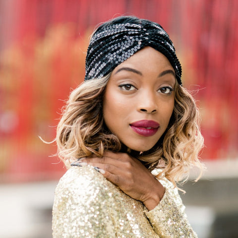 Turban Head Wrap - Satin-Lined Black Sequin Half Wrap | Bridgette