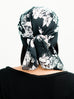 Head Scarf: Camille | Black & White Floral Sheer Head Scarf | Linda Christen Designs