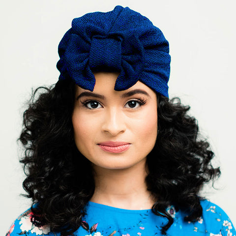 Pre-tied Turban With a Detachable Bow | Midnight Blue | Celine