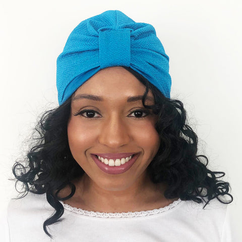 Pre-tied Turban With a Detachable Bow | Ocean Blue | Celine