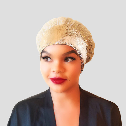 Shower Cap: Rylie | Gold Sequin Shower Cap | Linda Christen Designs