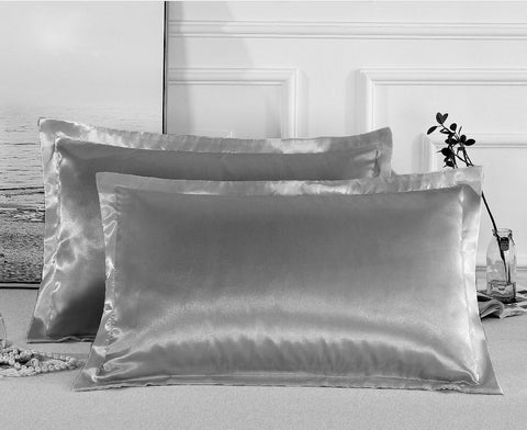 Charmeuse Satin Pillowcases | Gray | One Pair