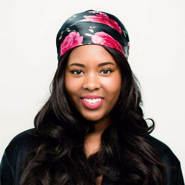 Head Scarf: Adeline | Black & Rose Silky Satin Head Scarf | Linda Christen Designs