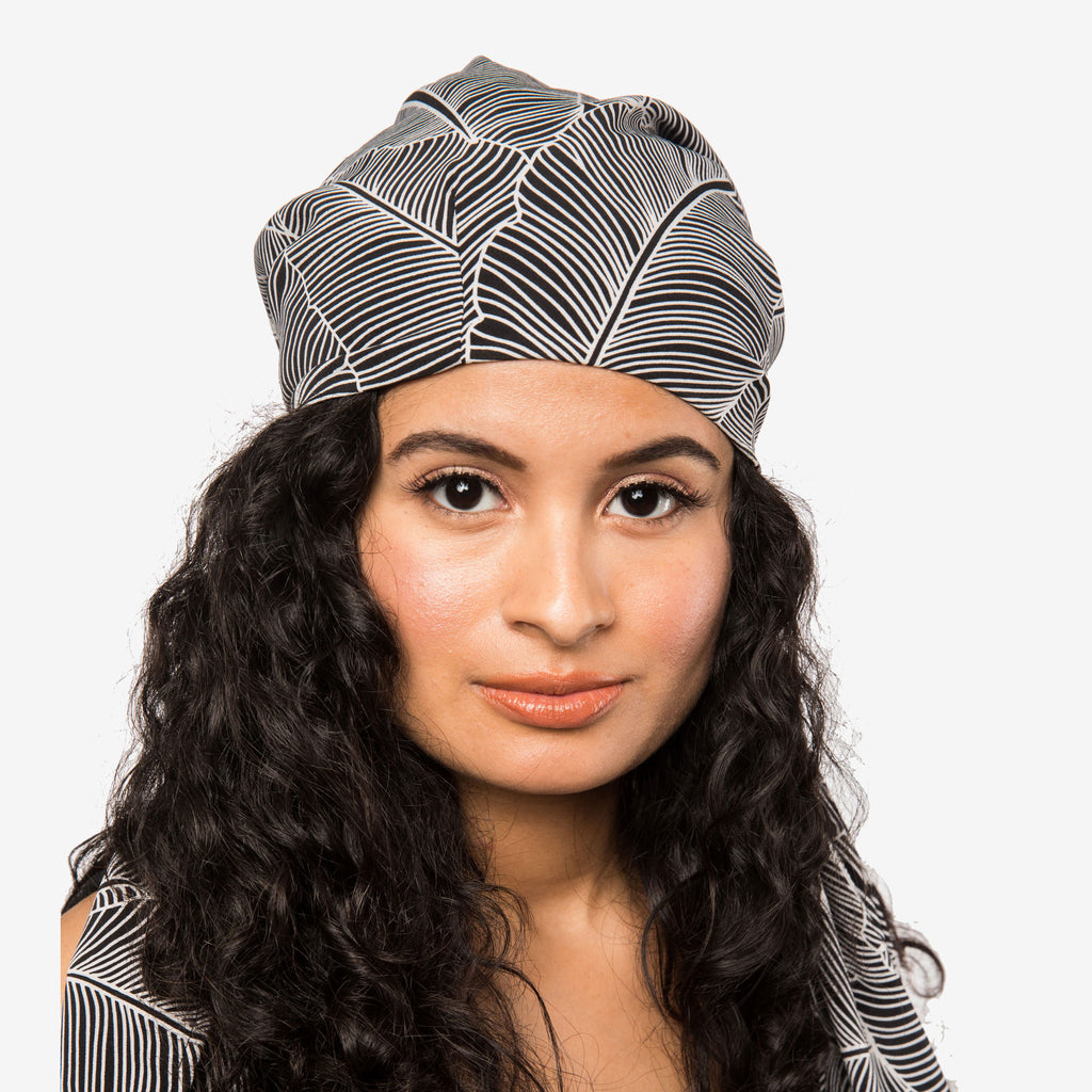 Apollina | Black & White Leaf Print Pre-Tied Satin-Lined Chiffon Head Scarf
