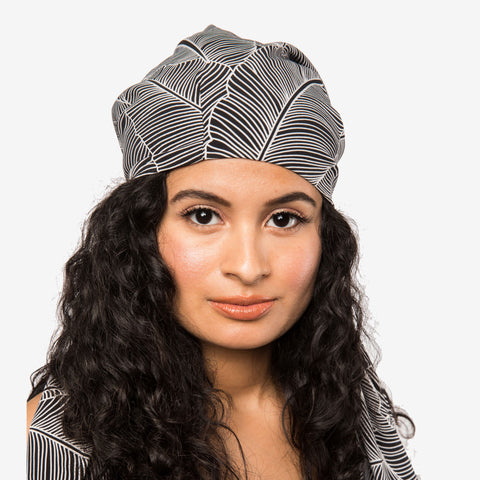 B&W Leaf Print Satin-Lined Chiffon Head Scarf | Apollina