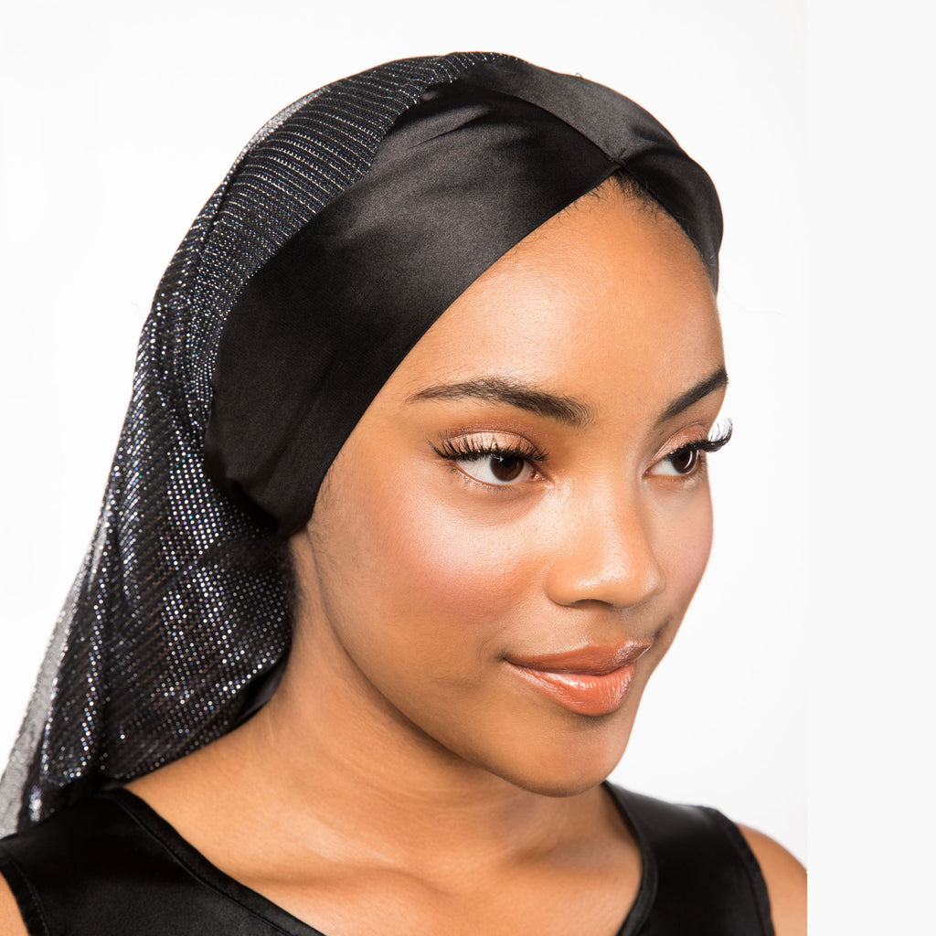 Black Satin-Lined Headscarf with Silver Accents | Cleopatra