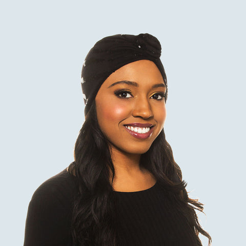 Turban: Ciara | Black Sequin Wave Pre-Tied Rose Knot Charmeuse Satin-Lined Turban | Linda Christen Designs