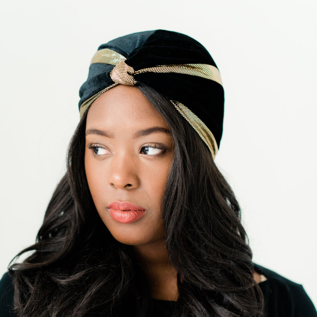 Turban: Isabella | Black Velvet & Gold Trim Pre-Tied Turban | Linda Christen Designs