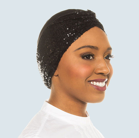 Satin-Lined Turban with Black Silk & Sequin Charmeuse | Iyla