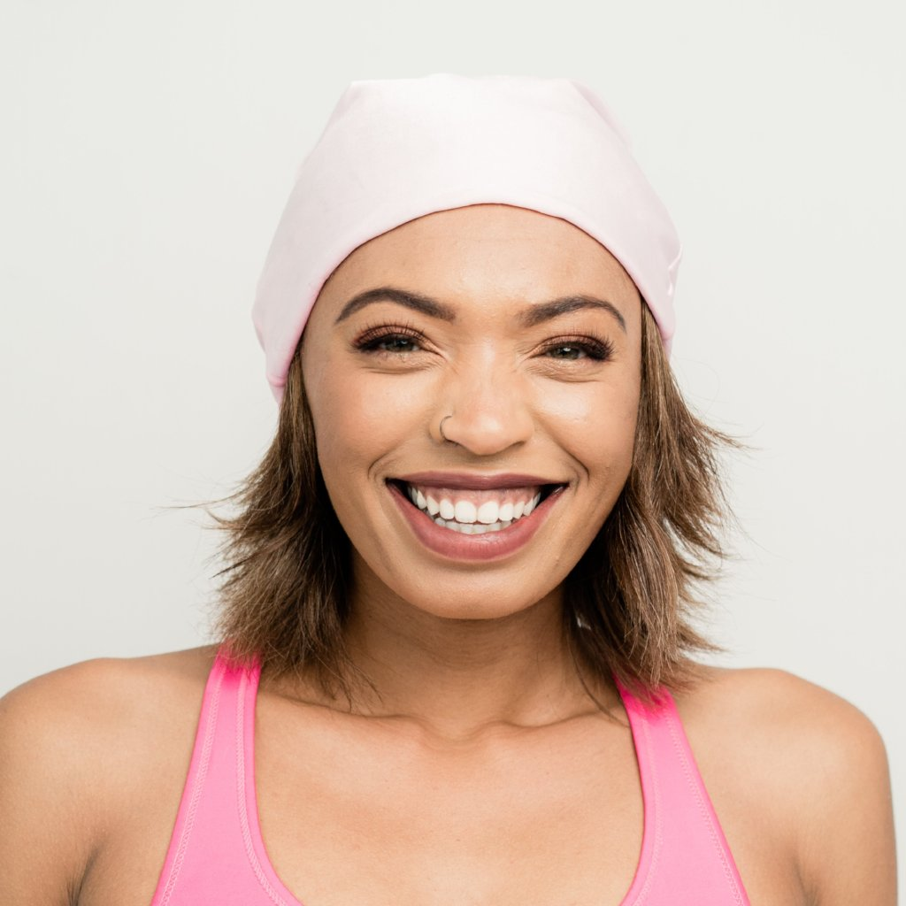 Kari | Light Pink Charmeuse Satin-Lined Slouch Cap