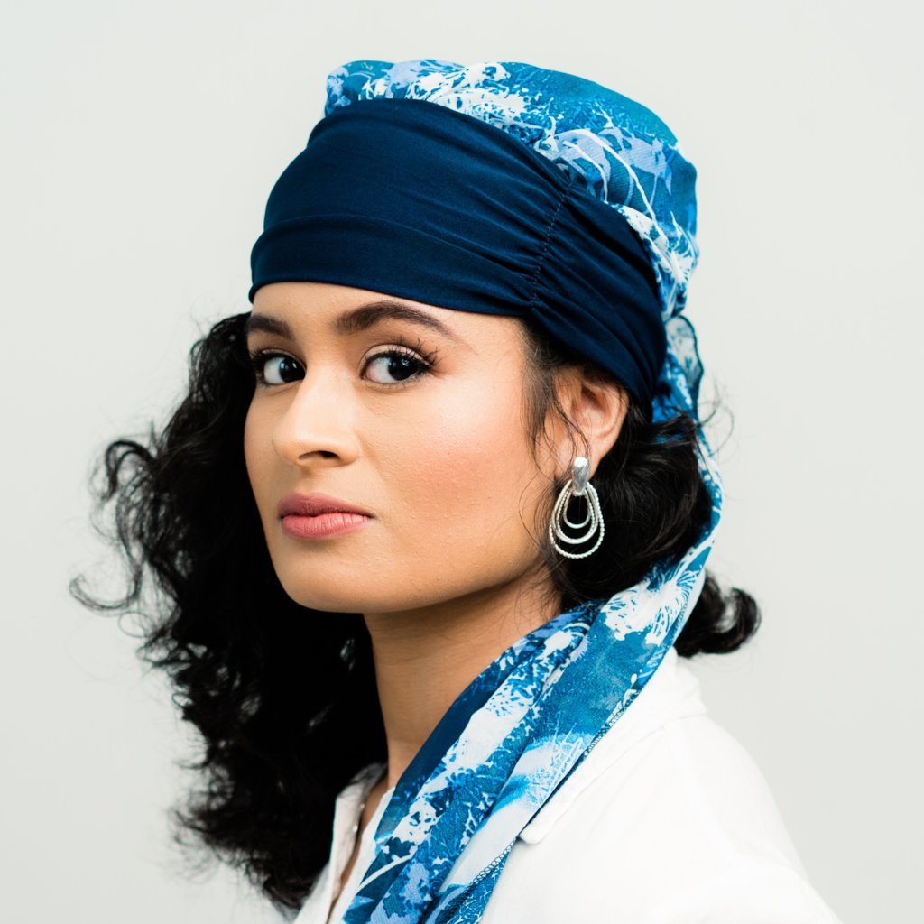 Head Scarf: Margaux | Blue & White Floral Sheer Head Scarf | Linda Christen Designs