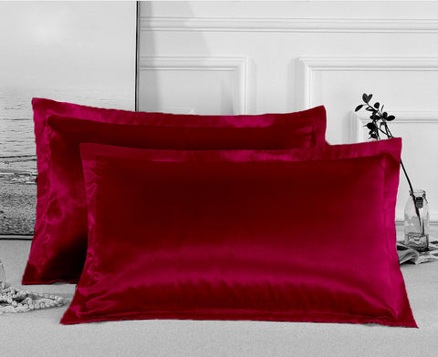 Charmeuse Satin Pillowcases | Crimson | One Pair