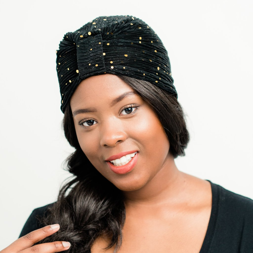 Turban: Simone | Sheer Black with Gold Sequins Turban | Linda Christen Designs