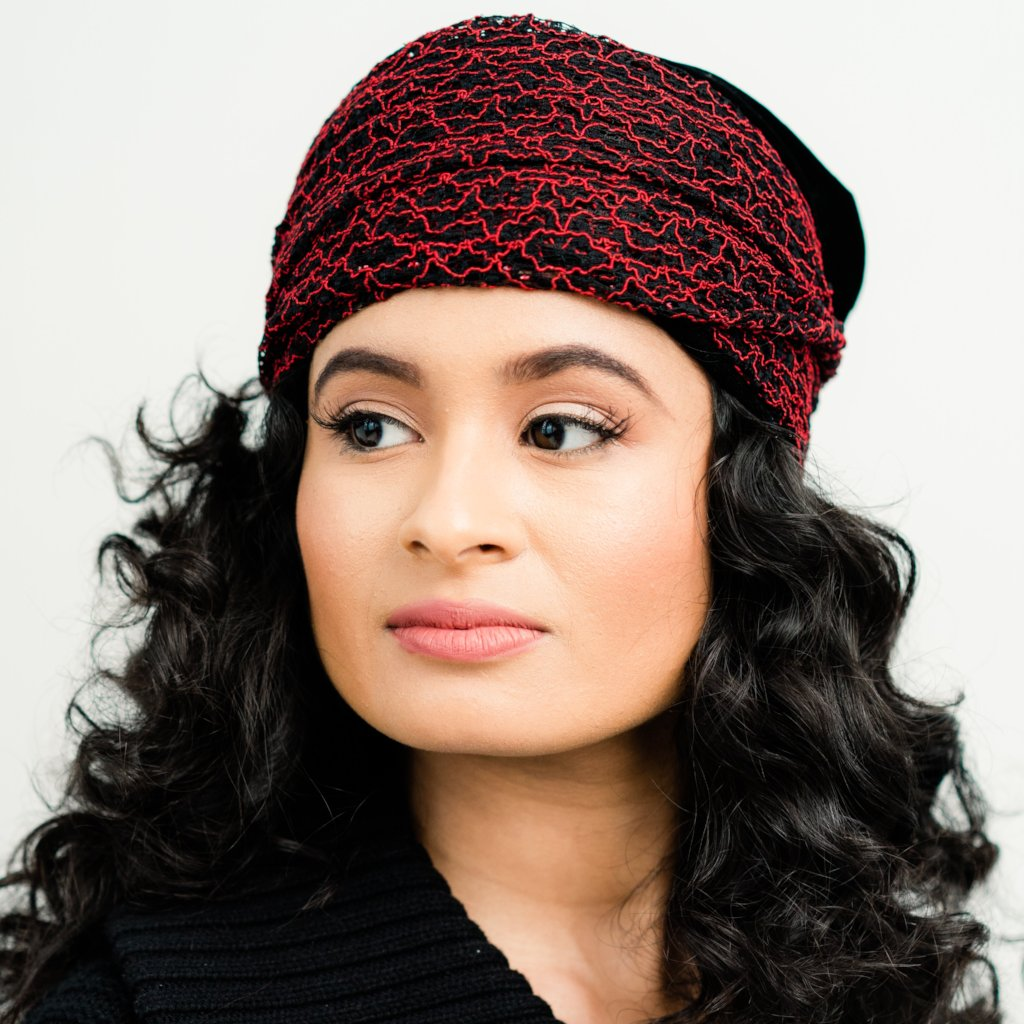 Turban: Monique | Black Velvet African Style Turban | Linda Christen Designs