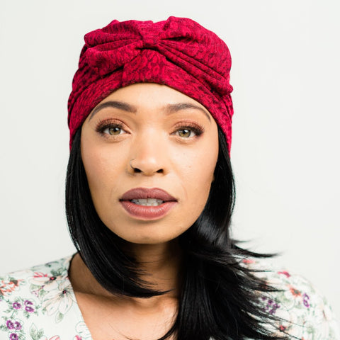 Turban: Victoria | Crimson Print Turban with Bow | Linda Christen Designs