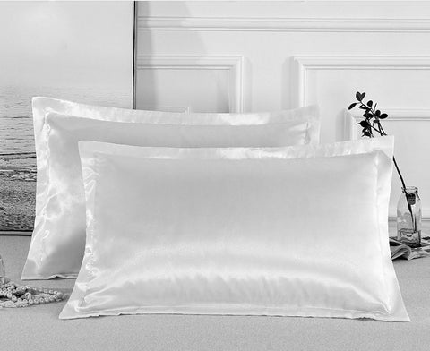 Charmeuse Satin Pillowcases | White | One Pair