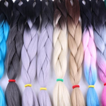 "Synthetic Braiding Hair 100g 24""  Black Ombres"