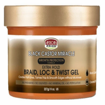 African Pride Black Castor Miracle Extra Hold Braid Loc & Twist Gel 227g