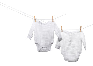 organic cotton muslin baby bodysuit made in America