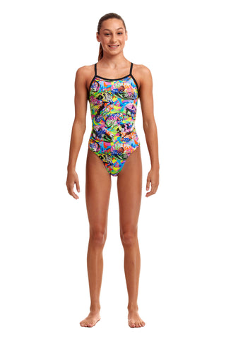 Funkita Girls Tie Me Tight One Piece Fossil Fuel