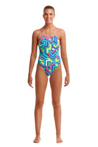 NEW! Funkita Ladies Tie Me Tight One Piece<br/>Cut Lines