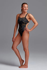 NEW! Funkita Ladies Brace Free One Piece<br/>Cracked Gold