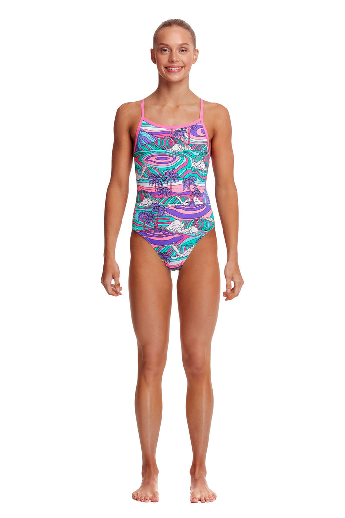 NEW! Funkita Girls Eco Single Strap One Piece<br/>Palm Cove