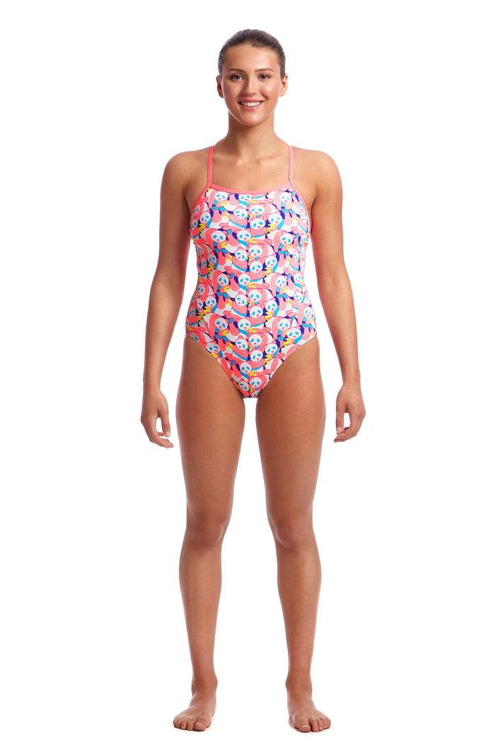 Funkita Ladies Eco Single Strap One Piece<br/>Pink Panda
