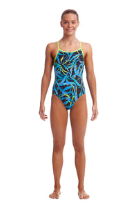 NEW! Funkita Girls Eco Diamond Back One Piece<br/>Sucker Punch