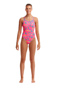 NEW! Funkita Ladies Eco Diamond Back One Piece<br/>Pinky Palm