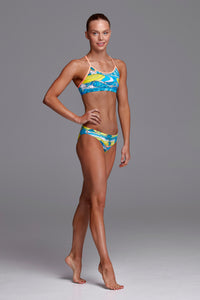 Funkita Girls Eco Racerback Two Piece<br/>Summer Bay