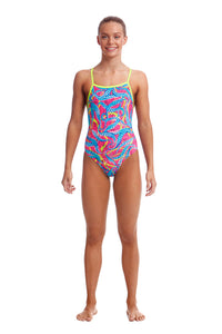 NEW! Funkita Girls Eco Tie Me Tight One Piece<br/>Squeaky Squid